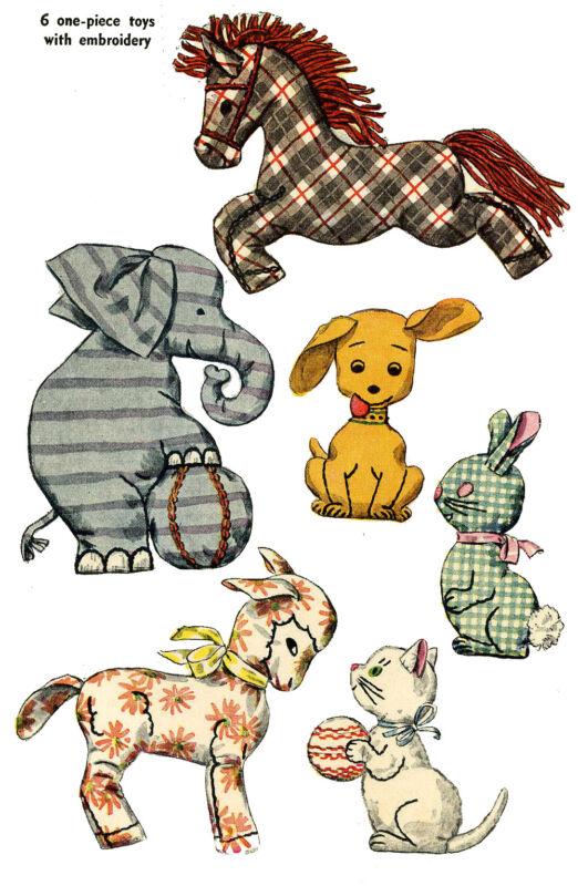 Vintage PATTERN 4510 Stuffed Toy Patterns Horse Elephant Bunny Dog Cat 1940s