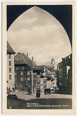 RAVENSBURG Marktstraße & Obertor * TRINKS Foto-AK um 1930
