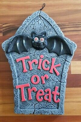 Halloween Trick Treat Sign w Bat Light up eyes Blow Mold Plastic