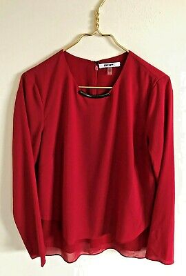 DKNYC Womens Red Chiffon Long Sleeve Metal Accent Polyester Blouse-Size S ()