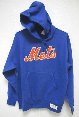 NWT MLB HOODED PULLOVER BLUE SWEATSHIRT APPLIQUE - NEW YORK METS - MEDIUM