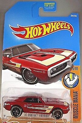 2016 Hot Wheels #284 Muscle Mania 5/10 '67 PONTIAC FIREBIRD 400 Red w/Black St8S