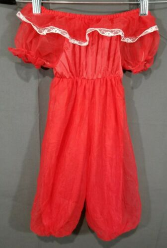 Vintage Candlestick Sleeper Outfit Infant SZ 2T Red Chiffon Fancy Union Label