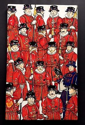 Vintage? Mounted Tea Towel  English Beefeaters Yeoman Warder