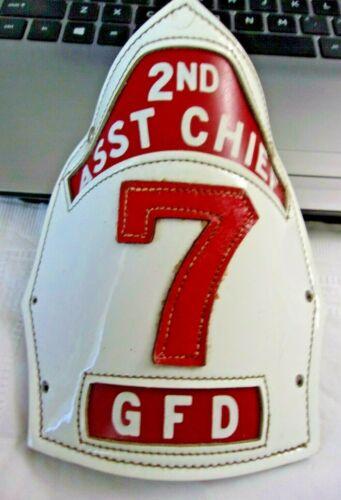 Fire Helmet Shield Front 2nd Asst. Chief Gettysburg Pennsylvania Fire Dept Rare