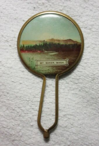 MT. BAKER WASH / MOUNT BAKER WASHINGTON SOUVENIR MIRROR w HANDLE ADVERTISING