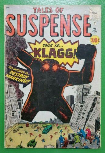 TALES OF SUSPENSE #21 KLAAG! Steve Ditko Jack Kirby 1962 ATLAS/MARVEL GD