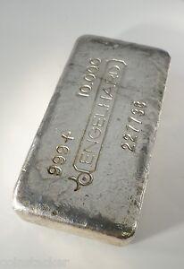 10-oz-Engelhard-BULL-Logo-Silver-Ingot-Bar-999-Silver-RARE-Early-OLD-POURED