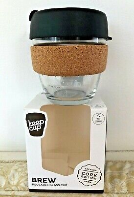 KEEP CUP (S - 8oz/227ml) CORK EDITION Reusable Glass Cup. NEW IN BOX/UNUSED.