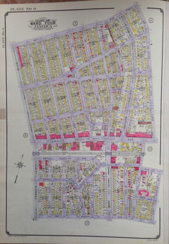 ORIG 1942 E. BELCHER HYDE ATLAS MAP HOLLIS BELLAIRE QUEENS NEW YORK 20 X 28