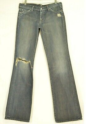 Cotton Extra Long Jeans (7 For All Mankind 30 x 35 bootcut destroyed dark 100% cotton USA extra long tall )