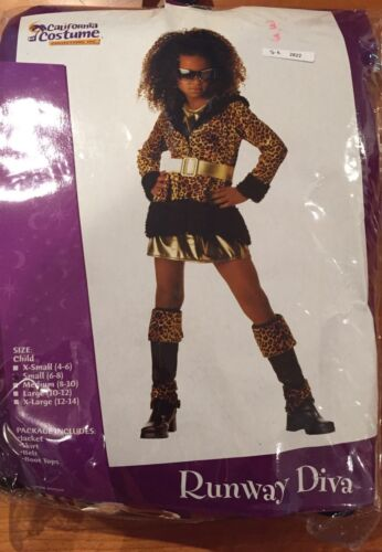 NWT RUNWAY DIVA California Costume Girl Halloween size S(6-8) 4 pc Leopard Print