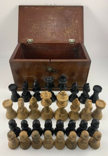 Unique Antique Wooden Box With Complete Wood Carved Chess Set Pieces