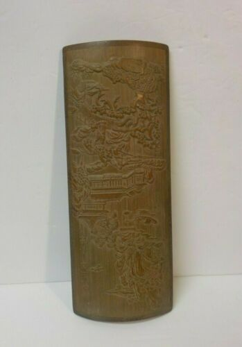 Chinese Hand Carved Bamboo Wrist, Arm Rest, Pagoda, Landscape Scene, c. 1900