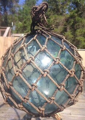 """OLD AUTHENTIC LARGE SIGNED """"T"""" VTG ANTIQUE GLASS FISHING FLOAT ROPE BUOY BALL #1 for sale  Shipping to Canada"""