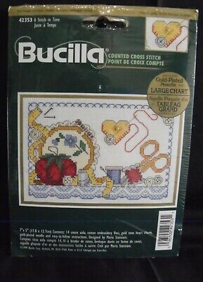 """Bucilla Kit #42353 """"A Stitch in Time""""; 14-Count Counted Cross Stitch; 7x5inches"""