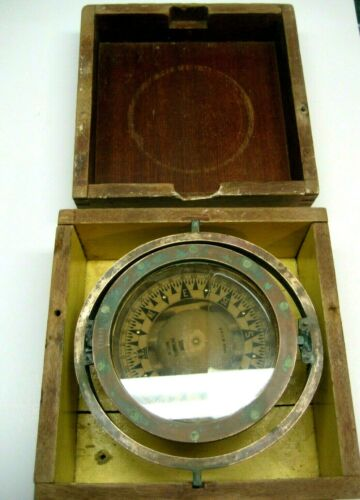 /Vintage Ritchie Boat Ship Compass #115439 Brass 1880s