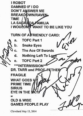 ALAN PARSONS PROJECT SIGNED SHOW SETLIST HAND SIGNED BY 7 w/ COA CLEVELAND  2014