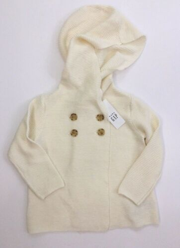 Baby Gap Girl Ivory DoubleBreasted Hoodie Cardigan Size12-18M 18-24M 2T 3T 5T