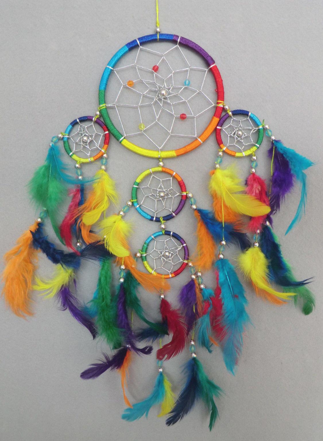 12 cm x 40 cm Dreamcatcher Traumfänger Regenbogen Rainbow Chakra Farben Geschenk