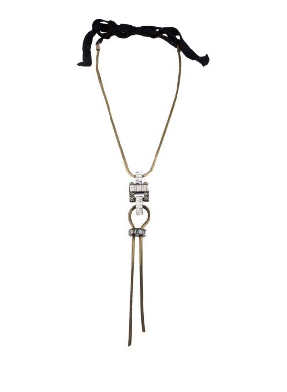 Lanvin Dahomar Crystal Brass Pendant Necklace