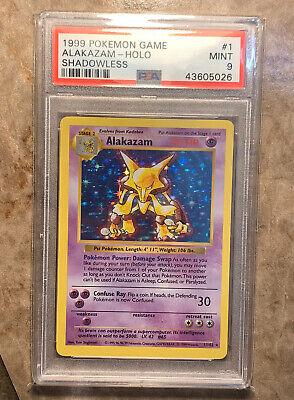 1999 Base Set Pokemon Card #1 Shadowless Alakazam Holo Graded PSA 9 MINT RARE