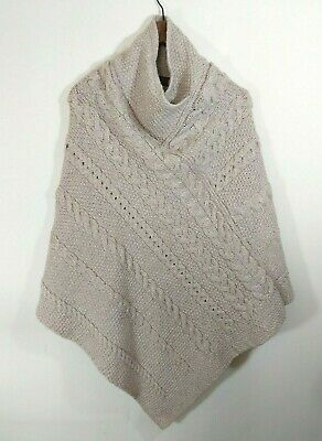 Inis Crafts Wool poncho pullover cable knit sweater Made in Ireland size M L