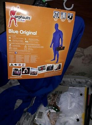 Adult Slender Man Morphsuits Blue Spandex Halloween Costume SZ LARGE L