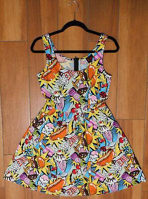 Pop Art Dress (Folter Sleeveless POP ART FOOD ROCKABILLY COTTON DRESS Hamburger Shakes Hot)