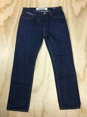 Superdry Standard Skinny Raw Indigo Blue Button Fly Denim Jeans Men's 34 x 32