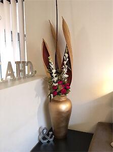 Ceramic vase 50cm high in GOLD inc SILK flower arrangement RRP$369 Balcatta Stirling Area Preview