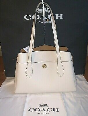 NWT Coach Pebble Leather Lora Carryall Chalk/Brass CHALK $395 88340FREE SHIP