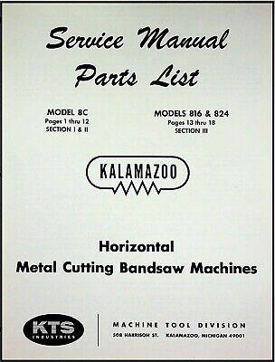 Kalamazoo Model 8c 816 824 Bandsaw Service Parts Manual