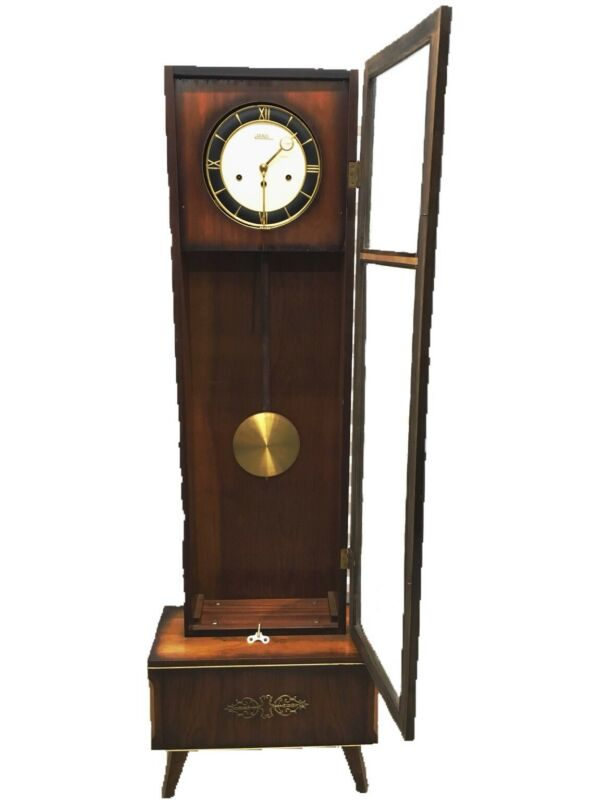 Vintage Rolls Westminster Art~Deco Grandfather Glass Front Clock WORKS! GUC!