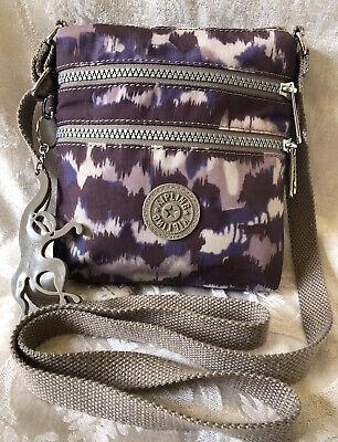 KIPLING Purple Beige Nylon Small Crossbody Handbag EUC