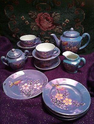 Vintage Lusterware Porcelain Child's Cherry Blossom Blue Toy Tea 18pc Set Japan