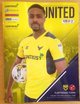 Oxford United v Fleetwood Town - league 1 : Played 10th April 2018 - Mint