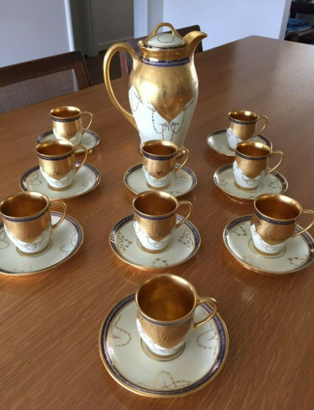 Antique OSBORNE Studios of Chicago Gilt Gold Chocolate Set - Art Nouveau Gold