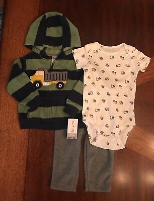 Carter's Dump Truck Construction 3-Piece Pants Outfit Set Baby Boy 12 Months NEW