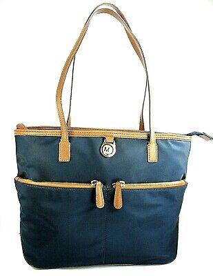 Michael Kors Medium Kempton Tote/Handbag, Navy Nylon/Acorn Brown Saffiano Leathe