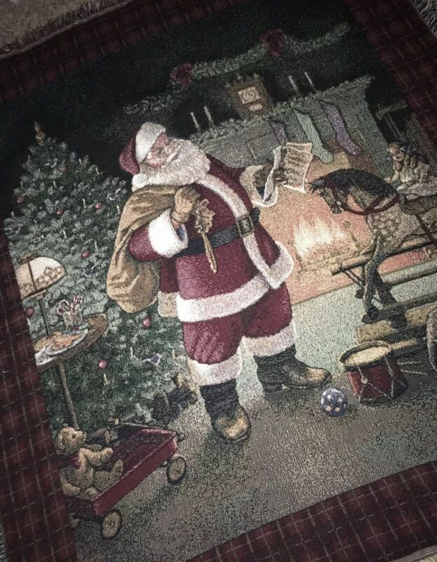 Vintage Santa Claus Children's Holiday Christmas Tapestry Throw Blanket Home Dec