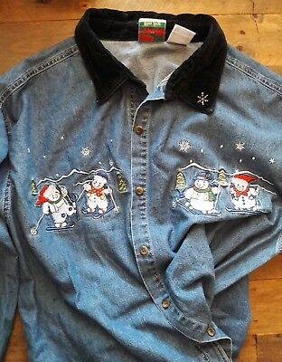 - Nutcracker Holiday Snowman Chambray Shirt w Velvet Collar - XL 18 Winter Top