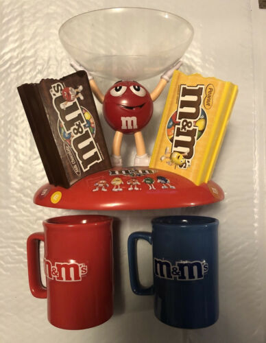 Set of 2 M & M Candy Coffee Cups Mugs with Candy Dish
