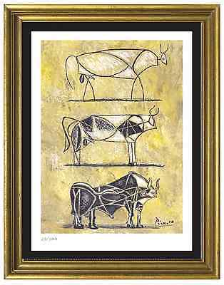 "Pablo Picasso Signed/Hand-Numbered Ltd Ed ""3 Bulls Evolution"" Litho (unframed)"