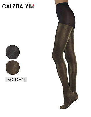 (Woman Lurex Tights, Shiny Opaque Pantyhose Gold and Silver Glitter, 60 den,Black)