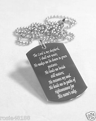 PSALM 23 VALLEY OF DEATH MEMORIAL DOG TAG NECKLACE  SOLID STAINLESS STEEL 2 SIDE
