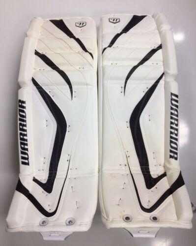 """New Warrior Messiah Pro Sr goalie leg pads white/black 34""""+1 ice hockey senior"""