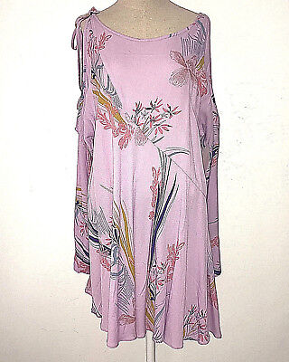 Free People Shirt Womens S Purple Floral Clear Skies Print Long Sleeve Tunic Nwt