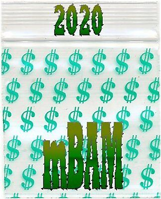 Green Dollar Sign (100 PACK GREEN DOLLAR SIGNS 2020 Apple Ziplock Baggies 2.0X2.0