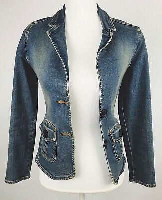Hollister Juniors Jean Jacket Medium Faded Two Button Blazer NWOT Abercrombie